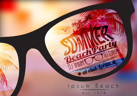 sun beach: Summer Beach Party Poster - Vector Illustration Illustration
