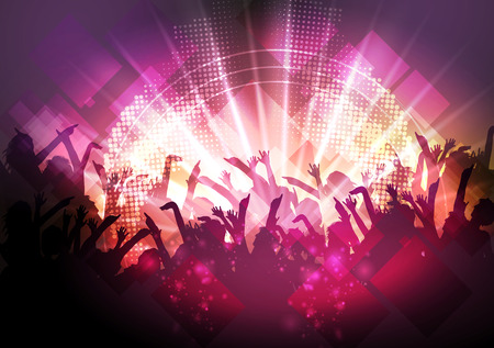 Disco Party Background - Vector Illustration Çizim
