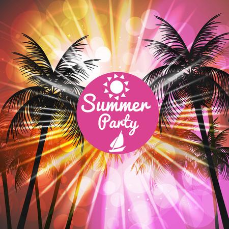 Summer Beach Party Poster - Vector Illustration 向量圖像