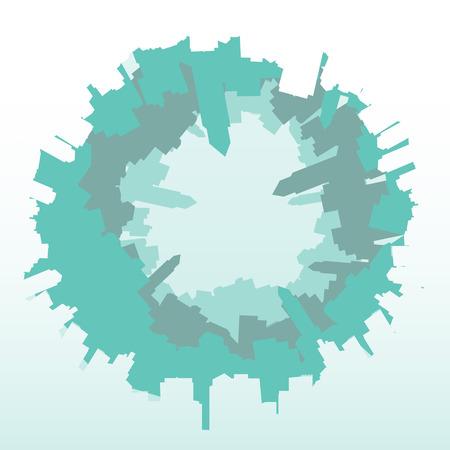fish eye: City Skyline Fish eye- Vector Illustration