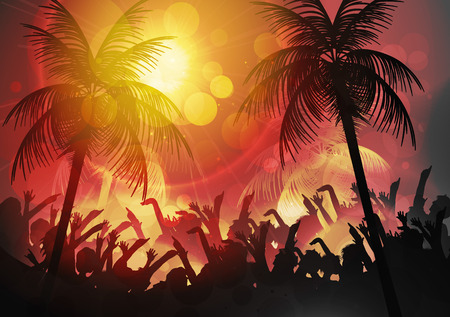 party silhouettes: Summer Beach Party Poster - Vector Illustration Illustration