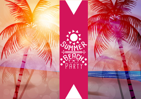 paradise beach: Summer Beach Party Poster - Vector Illustration Illustration