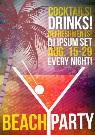 hour: Tropical Cocktail Party Poster Design - Vector Illustration Illustration
