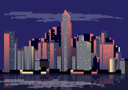 modern buildings: Abstract Flat Style Flyer with Skyscrapers and Modern Buildings - Vector Illustration Illustration