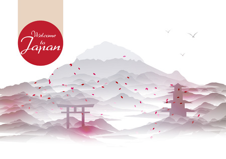 japanese temple: Japanese Vintage Background Postcard Template - Vector Illustration
