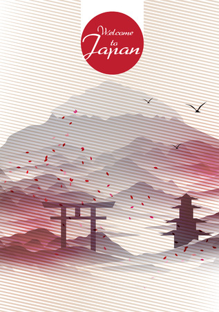 red wallpaper: Japanese Vintage Background Postcard Template - Vector Illustration