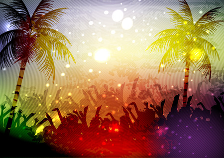Sunset landscape vector: Summer Beach Party Poster - Vector Illustration Hình minh hoạ