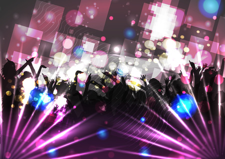 blue party: Dancing People Party Crowd Disco Background - Vector Illustration