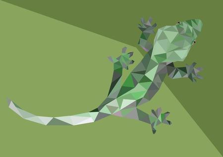 lagartija: Resumen Bajo Poli Gecko - Ilustraci�n vectorial Vectores