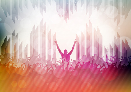 disco dancing: Dancing People Party Crowd Disco Background - Vector Illustration