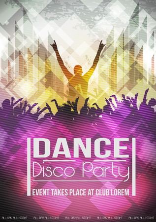 young people party: Dancing People Party Crowd Disco Background - Vector Illustration