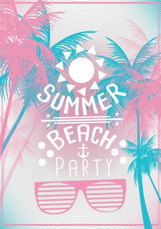 Summer Beach Party Poster - Vector Illustration 일러스트