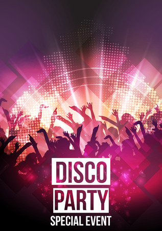disco girls: Disco Party Background - Vector Illustration Illustration