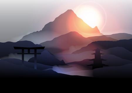 landscape architecture: Japanese Mountain Landscape - Vector Illustration
