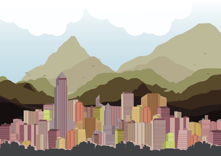 City Skyline with Mountains Background - Vector Illustration