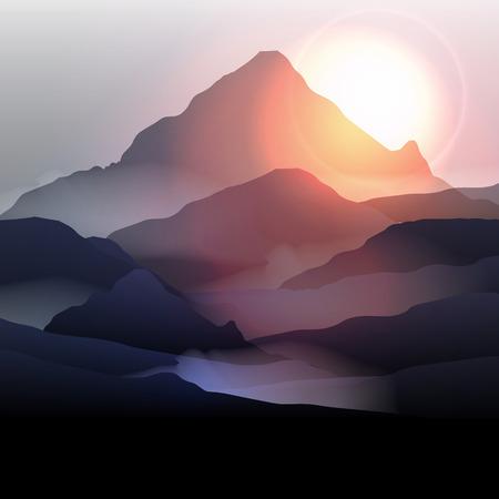 montagna: Mountain Landscape at Sunrise - illustrazione vettoriale