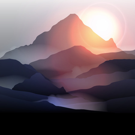 Sunset landscape vector: Núi Cảnh tại Sunrise - Vector Illustration