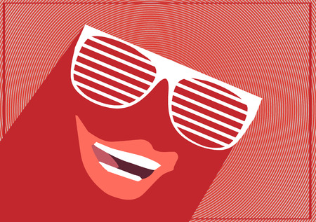 retro glasses: Summer Sunglasses Concept Flat Design - Vector Illustration