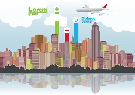 Retro City Skyline Background with Infographic - Vector Illustration Illustration