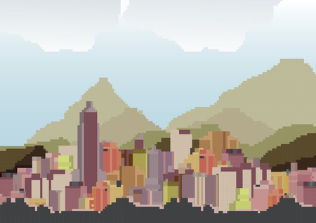 waterfront: Retro Eight Bit City Skyline Background - Vector Illustration