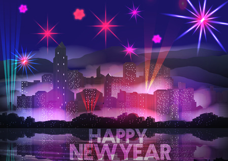 New Year Party Poster Template with City Skyline and Fireworks - Vector Illustration