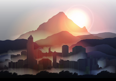 city at night: City Skyline at Sunset in the Mountains - Vector Illustration