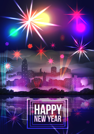 fire works: New Year Party Poster Template with City Skyline and Fireworks - Vector Illustration