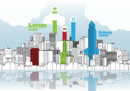 multistorey: City Skyline Background with Infographic - Vector Illustration Illustration