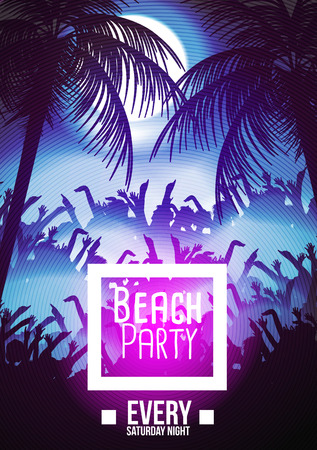 party night: Summer Beach Night Party Flyer Template - Vector Illustration