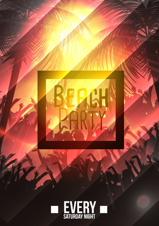 sensation: Summer Beach Party Poster - Vector Illustration Illustration
