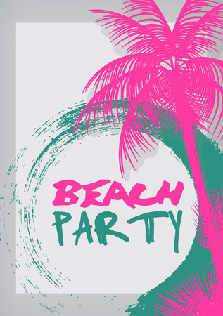 Summer Beach Party Poster - Vector Illustration 일러스트