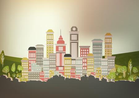 modern illustration: Town City Street - Vector Illustration