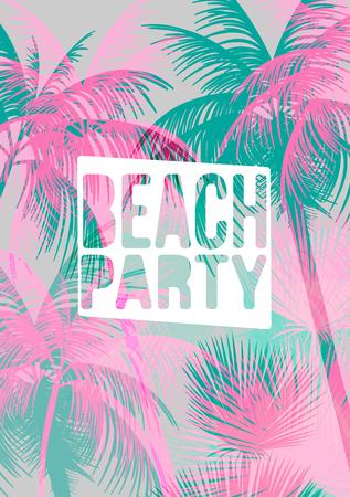 de zomer: Tropische achtergrond met palmboom - Vector Illustratie
