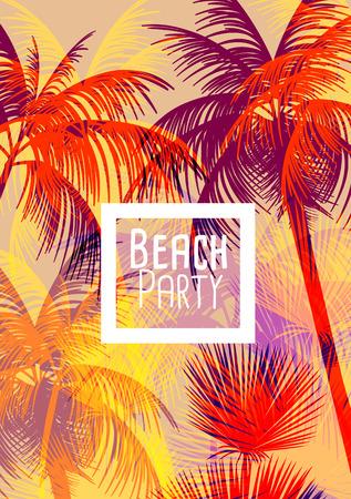 ropa de verano: Fondo tropical con la palmera - Ilustraci�n vectorial