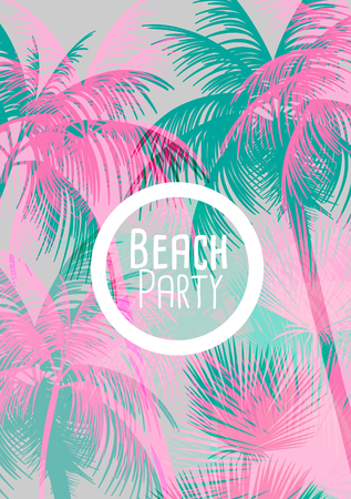 paradise beach: Tropical Background with Palm Tree - Vector Illustration