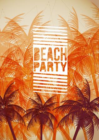 Tropische achtergrond met palmboom - Vector Illustratie