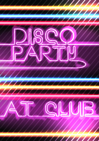retro disco: Neon Lights Disco Party Poster Background Template - Vector Illustration