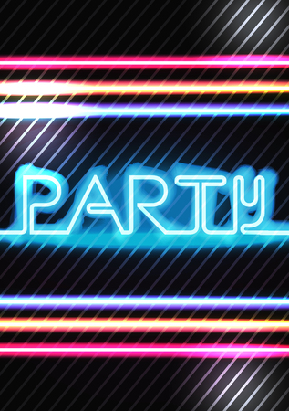 fluorescent lights: Neon Lights Disco Party Poster Background Template - Vector Illustration