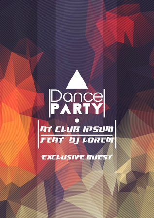 dj: Abstract Geometric Party Poster Background Template - Vector Illustration