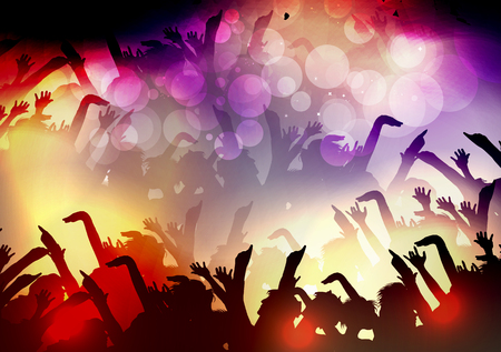disco: Party People Crowd, Festive Disco Event Background - Vector Illustration