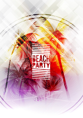 Summer Beach Party Flyer - Vector Illustration