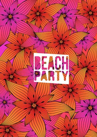 art vector: Tropical Flower Background - Vector Illustration