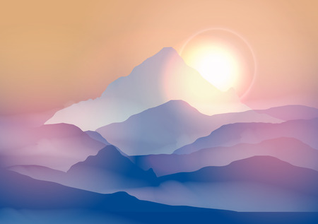 sunrise mountain: Sunrise Mountain Landscape - Vector Illustration
