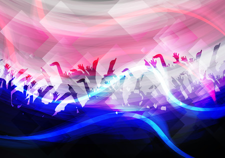 urban dance: Party Crowd with Disco Spot Lights Background Template - Vector Illustration