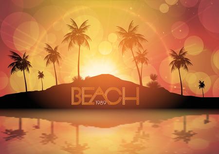 palm tree vector: Sunrise Mountain Landscape with Palm tree - Vector Illustration Illustration