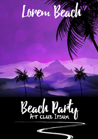 sensation: Summer Beach Night Party Flyer Template - Vector Illustration