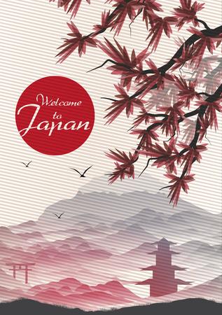 Contexte japonais vintage Carte postale Modèle - vecteur Illustration