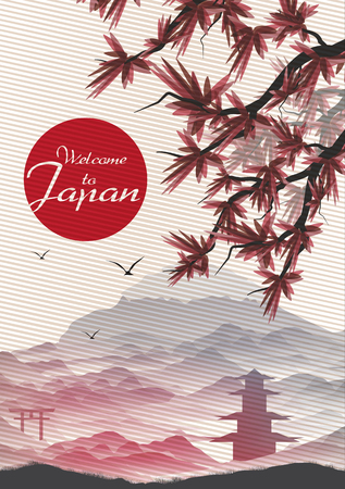Japanese Vintage Background Postcard Template - Vector Illustration
