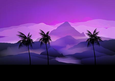 sunrise mountain: Sunrise Mountain Landscape with Palm tree - Vector Illustration Illustration