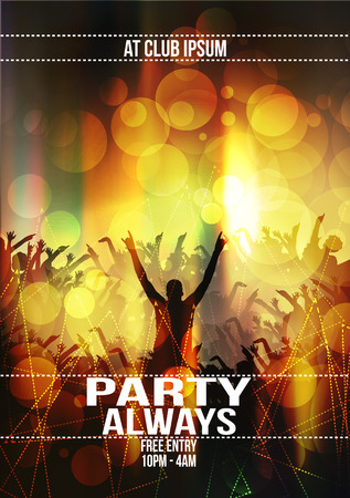 party silhouettes: Party Flyer Background - Vector Illustration